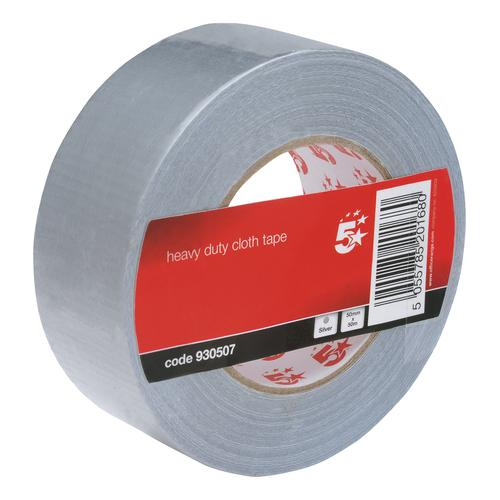 5 Star Office Cloth Tape Heavyduty Waterproof Tearable Multisurface 50mmx50m Silver