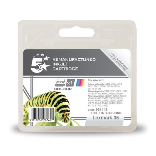 5 Star Office Remanufactured Inkjet Cartridge 450pp Colour [Lexmark No. 35 018C0035E Alternative]