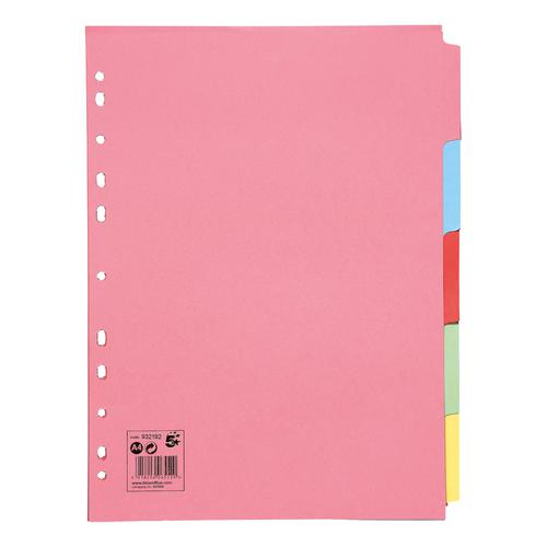 5 Star Office Subject Dividers 5-Part Recycled Card Multipunched 155gsm A4 Assorted [Pack 10]