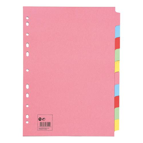 5 Star Office Subject Dividers 10-Part Recycled Card Multipunched 155gsm A4 Assorted [Pack 10]