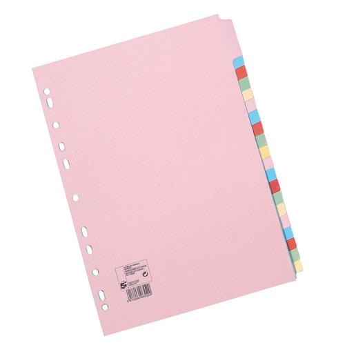 5 Star Office Subject Dividers 20-Part Recycled Card Multipunched 155gsm A4 Assorted [Pack 10]