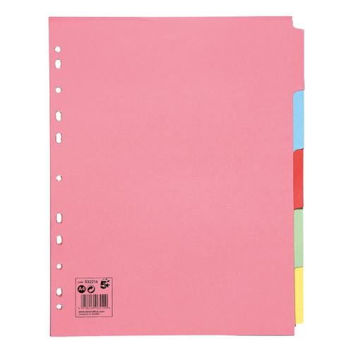 5 Star Office Subject Dividers 5-Part Recycled Card Multipunched Extra Wide 155gsm A4 Assorted [Pack 10]
