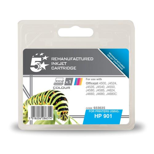 5 Star Office Remanufactured Inkjet Cart HY PageLife 360pp 9ml Tri-Colour [HP No.901 CC656AE Alternative]