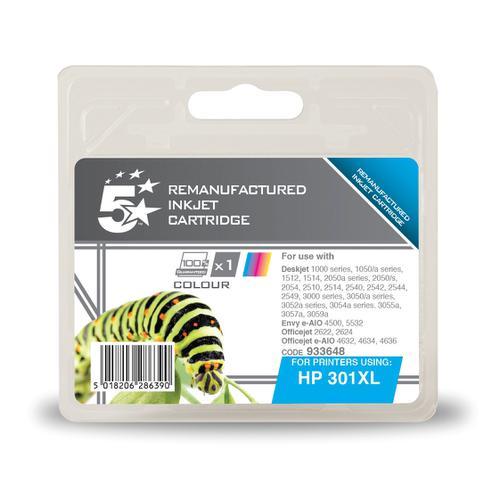 5StarOffice Reman InkjetCart High Yield Page Life 330pp 6ml Tri-Colour [HP No.301XL CH564EE Alternative]