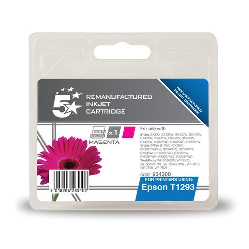 5 Star Office Remanufactured Inkjet Cartridge Page Life 330pp 7ml Magenta [Epson T1293 Alternative]