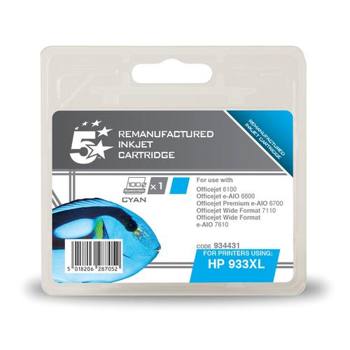 5 Star Office Remanufactured Inkjet Cart HY Page Life 825pp 8.5ml Cyan [HP No.933XL CN054AE Alternative]
