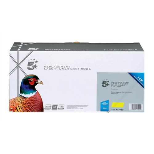 5 Star Office Remanufactured Laser Toner Cartridge 2600pp Yellow [HP 305A CE412A Alternative]