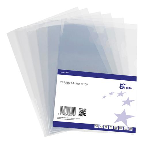 5 Star Elite Folder Cut Flush PVC Top and Side Opening 135 Micron A4 Glass Clear [Pack 100]