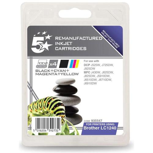 5 Star Office Reman Inkjet Cartridges 600pp Black/Cyan/Magenta/Yellow [Brother LC1240VALBP Alt] [Pack 4]
