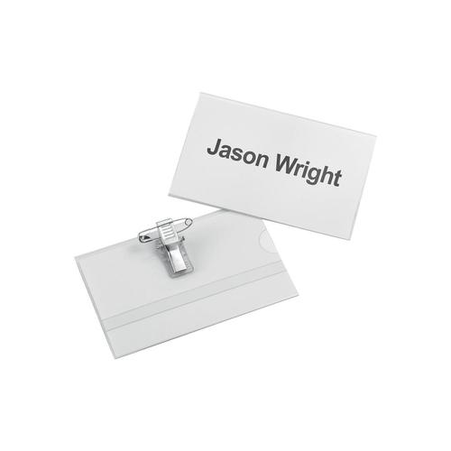 5 Star Office Name Badge with Combi-Clip PVC 54x90mm [Pack 25]