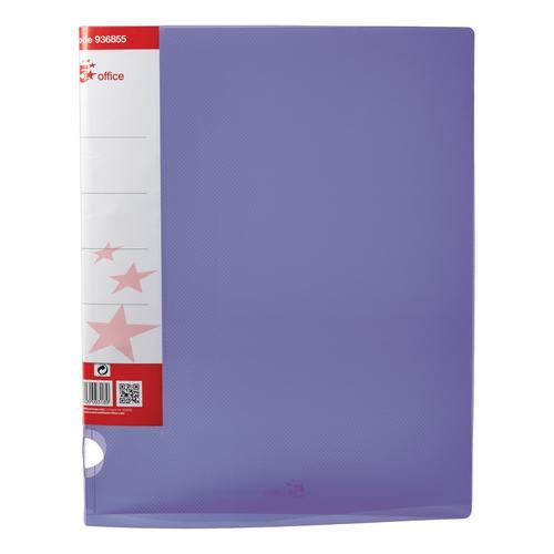 5 Star Office Ring Binder 2 O-Ring Translucent Polypropylene A4 Purple [Pack 10]