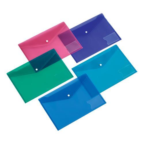 5 Star Office Envelope Stud Wallet with Card Holder Polypropylene A5 Assorted [Pack 5]