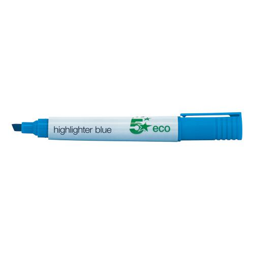 5 Star Eco Highlighter Chisel Tip 1-5mm Line Blue [Pack 10]