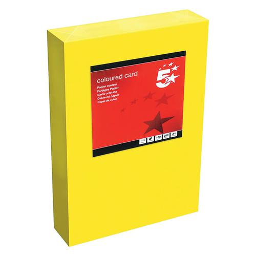 5 Star Office Coloured Card Tinted 160gsm A4 Deep Yellow [Pack 250]