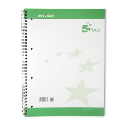 5 Star Eco Spiral Pad 70gsm Ruled Margin Perforated Punched 4 Holes 100pp A4+ [Pack 10]