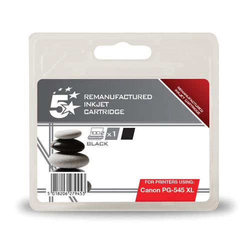 5 Star Office Remanufactured Inkjet Cartridge Page Life 400pp 15ml [Canon PG-545XL Alternative] Black