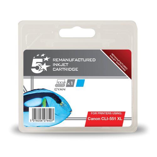 5 Star Office Reman Inkjet Cartridge HY Page Life 660pp 11ml [Canon CLI-551XL Alternative] Cyan