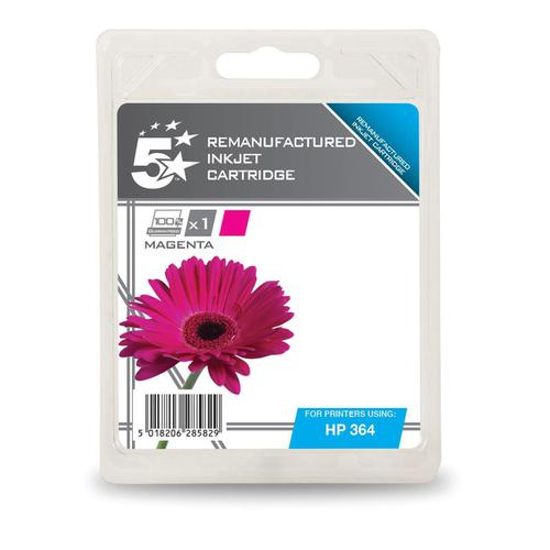 5 Star Office Remanufactured Inkjet Cartridge Page Life 300pp 3ml Magenta [HP No.364 CB319EE Alternative]
