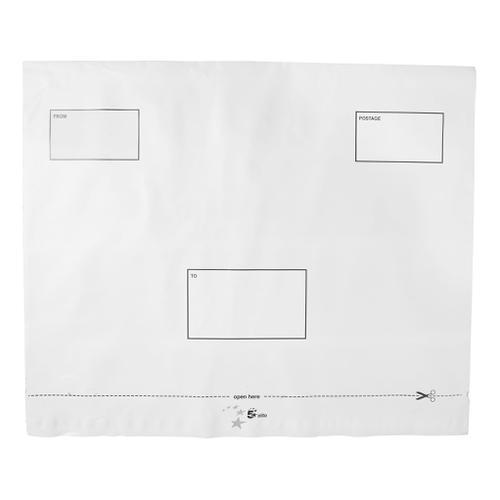 5 Star Elite DX Bags Self Seal Waterproof White 455x330mm &50mm Flap [Pack 100]