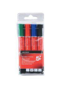5 Star Office Drywipe Marker Xylene/Toluene-free Chisel Tip 2-5mm Line Wallet Assorted [Pack 4]