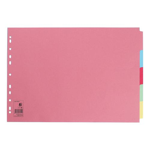 5 Star Office Subject Dividers 5-Part Recycled Card Multipunched 155gsm Landscape A3 Assorted