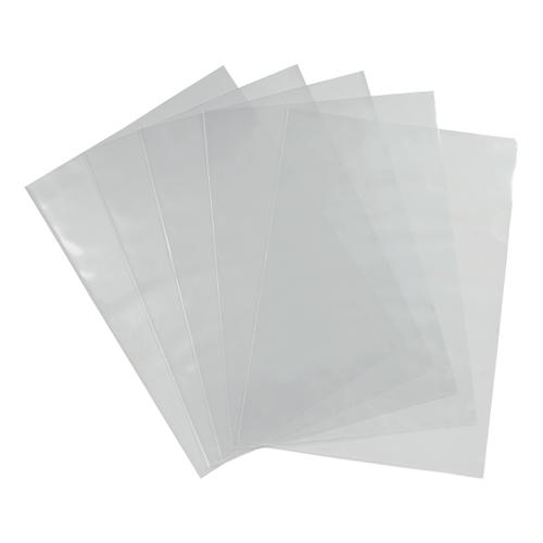 5 Star Office Folder Cut Flush Polypropylene Top and Side Opening 90 Micron A4 Glass Clear [Pack 100]