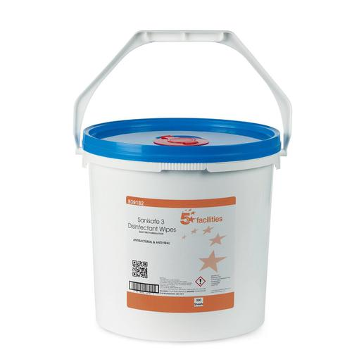 5 Star Facilities Disinfectant Wipes Anti-bacterial PHMB-free BPR Low-residue 200x230mm [500 Wipes]