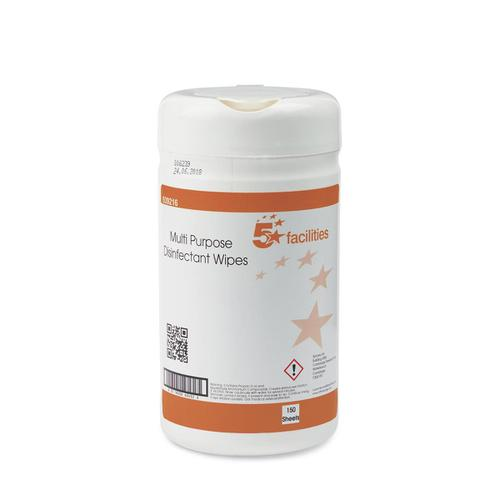 5 Star Facilities Multipurpose Disinfectant Wipes Anti-bacterial 23gsm 130x130mm [150 Wipes]