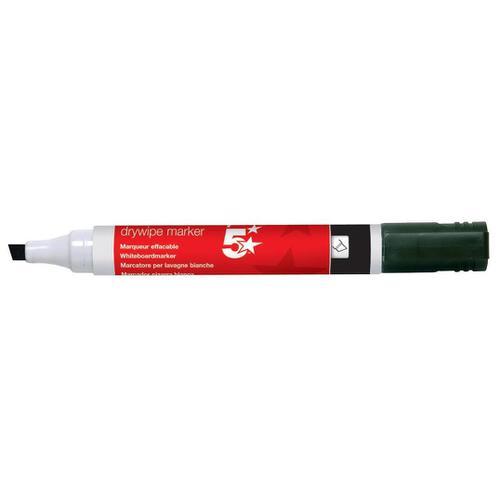 5 Star Office Drywipe Marker Xylene/Toluene-free Chisel Tip 2-5mm Line Black [Pack 12]