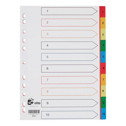 5 Star Elite Index 1-10 Polypropylene Multipunched Reinforced Multicolour-Tabs 120 Micron A4 White