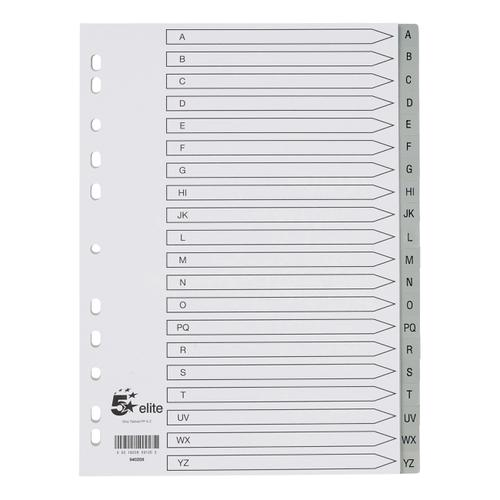 5 Star Elite Index A-Z 20-Part Polypropylene Multipunched Reinforced Holes Grey Tabs 120 Micron A4 White