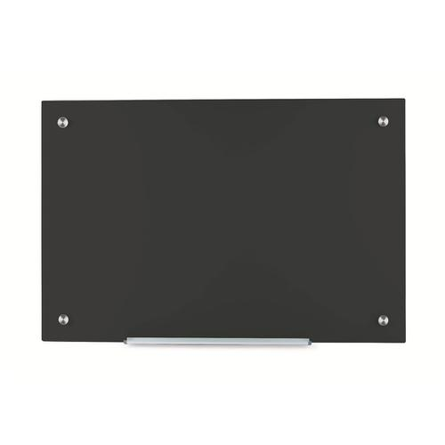 5 Star Office Glass Board Magnetic with Wall Fixings W1000xH650mm Black