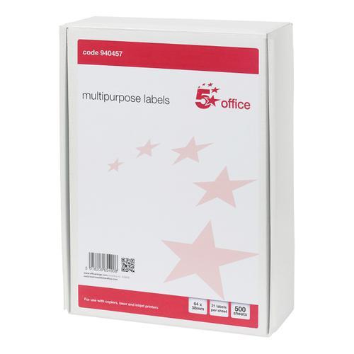 5 Star Office Multipurpose Labels Laser Copier Inkjet 21 per Sheet 64x38mm White [10500 Labels]
