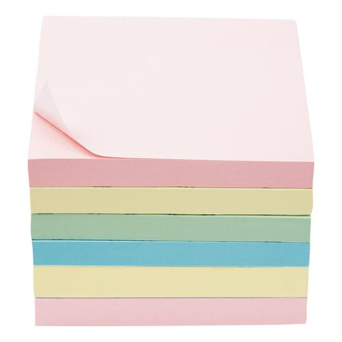 5 Star Office Extra Sticky Re-Move Notes Pad of 90 Sheets 76x76mm 4 Assorted Pastel Colours [Pack 6]