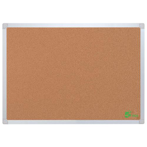 5 Star Office Cork Board with Wall Fixing Kit Aluminium Frame W1200xH900mm