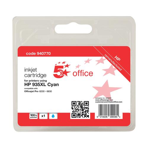 5 Star Office Remanufactured Inkjet Cart HY Page Life 825pp 9.5ml Cyan [No.935XL C2P24AE Alternative]