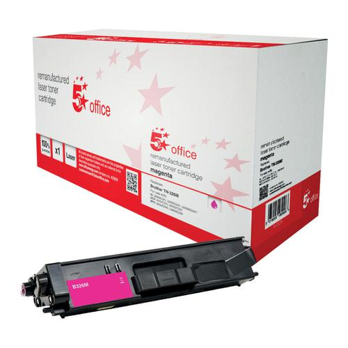 5 Star Office Reman Laser Toner Cartridge HY Page Life 3500pp Magenta [Brother TN326M Alternative]