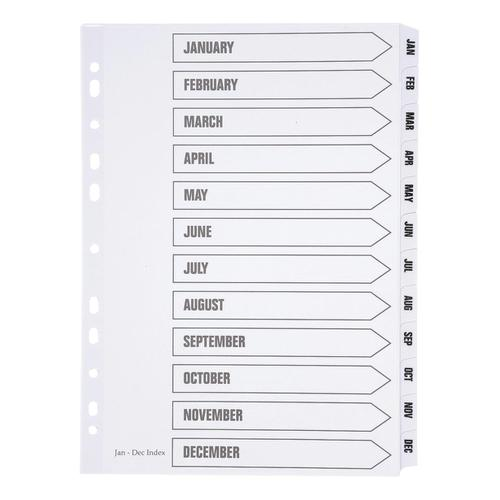 5 Star Office Index Jan-Dec Multipunched Mylar-reinforced Strip Tabs 150gsm A4 White