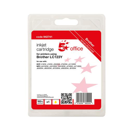 5 Star Office Remanufactured Inkjet Cartridge Page Life Yellow 600pp [Brother LC123Y Alternative]