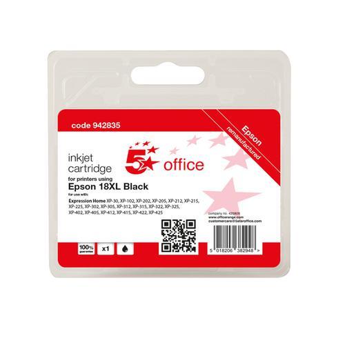 5 Star Office Remanufactured Inkjet Cartridge Page Life Black 470pp [Epson C13T18114012 Alternative]