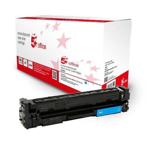 5 Star Office Remanufactured Toner Cartridge Page Life Cyan 1300pp [HP 203A CF541A Alternative]