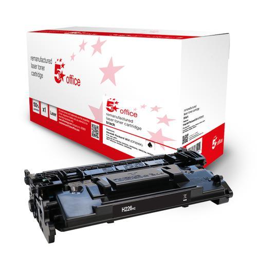 5 Star Office Remanufactured Toner Cartridge Page Life Black 9000pp [HP 26X CF226X Alternative]