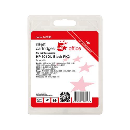 5 Star Office Reman Inkjet Cartridge Page Life Black 480pp [HP No.301XL D8J45AE Alternative] [Pack 2]