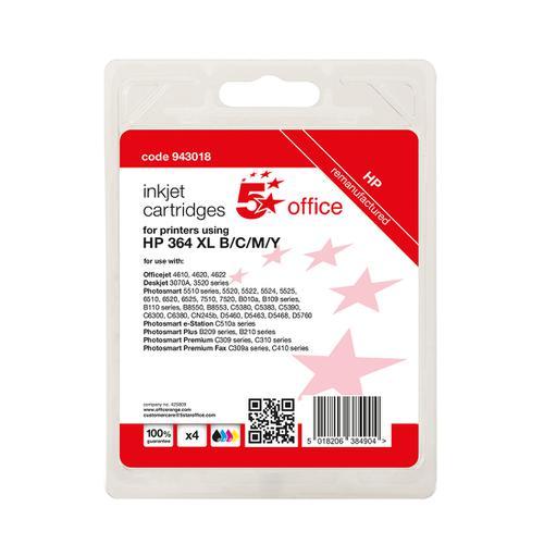5 Star Office Reman Inkjet Cart Page Life Blk 550pp C/M/Y 750pp [HP No.364XL N9J74AE Alternative][Pack 4]