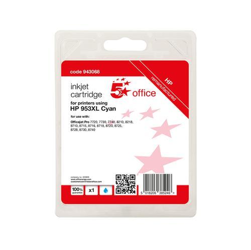 5 Star Office Remanufactured Inkjet Cartridge Page Life Cyan 1600pp [HP No.953XL F6U16AE Alternative]