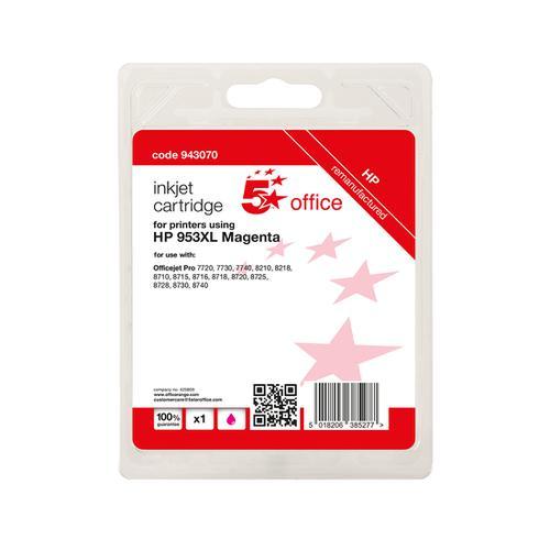 5 Star Office Remanufactured Inkjet Cartridge Page Life Magenta 1600pp [HP No.953XL F6U17AE Alternative]