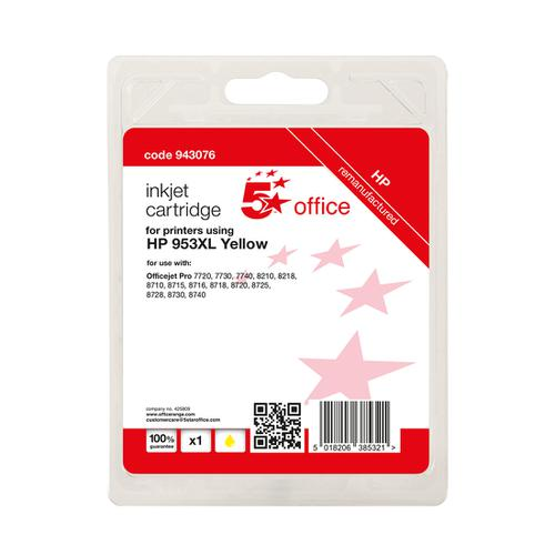 5 Star Office Remanufactured Inkjet Cartridge Page Life Yellow 1600pp [HP No.953XL F6U18AE Alternative]