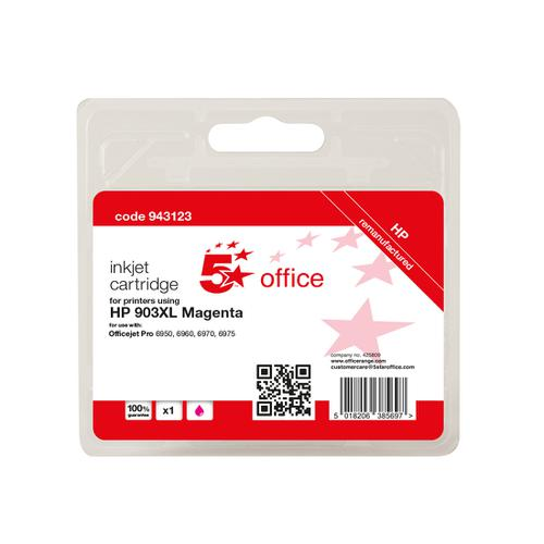 5 Star Office Remanufactured Inkjet Cartridge Page Life Magenta 825pp [HP No.903XL T6M07AE Alternative]