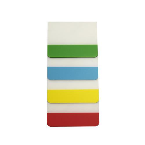 5 Star Filing Tabs 4 Neon Assorted Colours Red Yellow Blue & Green 38x51mm [Pack 5]