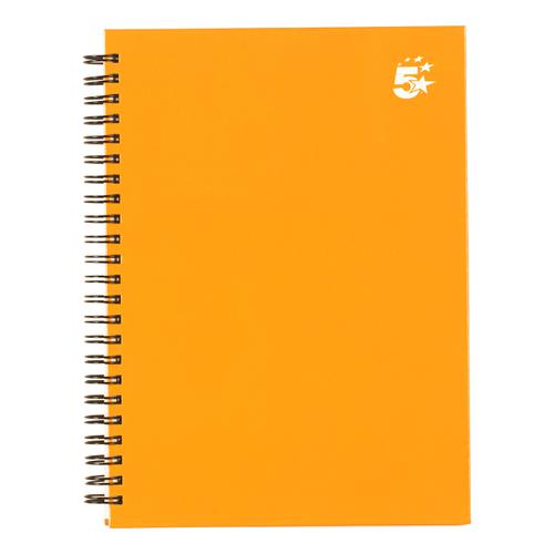 5 Star Office Twinbound Hardback A5 140Pg Yellow Ref  [Pack 5]